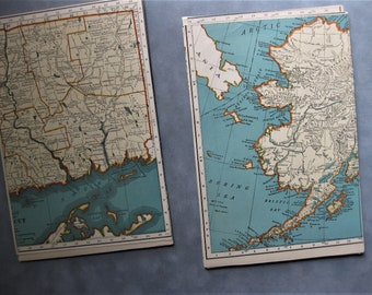 Vintage Map Pack, 22 Gorgeous Vintage Map Pages, Blue, Yellow