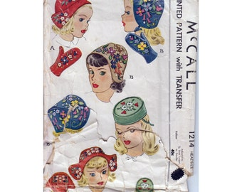 1940s Hat and Mittens Sewing Pattern with Embroidery Transfer Vintage Head Size 21 Teen McCall 1214
