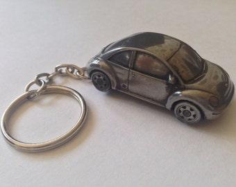 VW New Beetle ref302 FULL CAR on a split-ring keyring