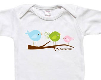 Personalized Baby Bodysuit - Toddler Shirt - Baby Shower Gift - Birds on Branch Tree
