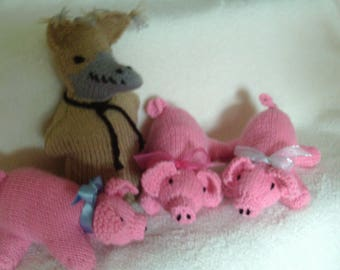 Knitted soft toy, 3 little pigs and the very naughty wolf