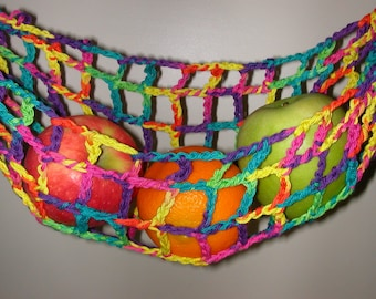 Banana Hammock, Fruit Hanger, Holder, Net, Rainbow Colorful