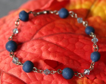 Blue Sky and Crystals Beaded Bracelet