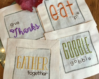 THANKSGIVING Cocktail Napkins. Embroidered Beige Linen Hemstitch. Give Thanks. Eat. Gather. Gobble. Hostess Gift. Housewarming Friendsgiving