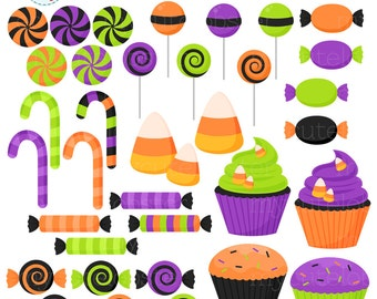 Halloween Candy Clipart Set - clip art set of candy, sweets, halloween, cupcakes  - personal use, small commercial use, instant download