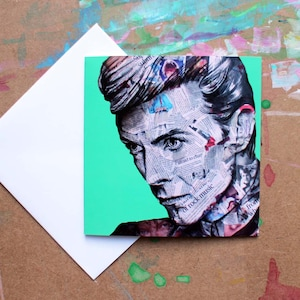 David Bowie Square Greetings Cards | Blank Notecard | Aladdin Sane | Ziggy Stardust | Unique Card Design | Quirky Gift Idea | Artist Cards