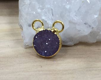 Druzy Connector, Small Druzy Connector, Round Druzy Connector, Druzy, Drusy, 18K Gold Plated Connector, Tiny, 10mm, Dyed, Purple, PG0950C