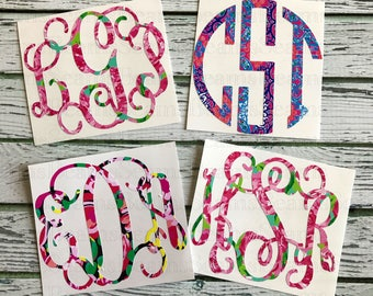 lilly monogram, lilly pulitzer inspired, monogram decal, yeti rambler monogram, yeti decal, yeti cup monogram, pulitzer monogram, lilly