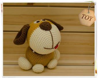 Crochet Dog Toy, Amigurumi Dog, Crochet Puppy, Plush Brown Dog, Crochet Dog Puppy Gift, Stuffed Dog Toy, Handmade Dog Toy, Soft Dog Toy