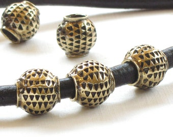 10 tribal BEADS in antique bronze with large 5mm HOLE . 11mm x 11mm