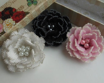 Beaded brooch rose Beaded jewelry Flower beads Weaving beads Pink rose White rose Seed bead brooch Flower brooch Decoration clothes Gift her