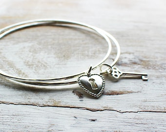 Sterling Silver Bangle Set with Heart Lock and Key, Two Bangle Set, Best Friend Bangles