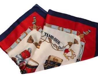 Le Petit Tambour Scarf - Vintage Silk Scarf - Red White Blue - Drums