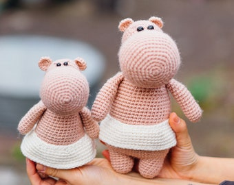 Hippo Girls,  Hippo, Crochet Hippo, Present for a girl, Stuffed Hippo, Hippo Toy, Handmade Toy, Hippo Girl
