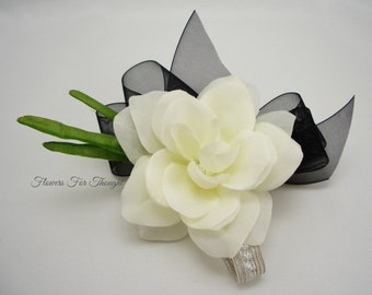 Gardenia Corsage,Creamy White with Black Ribbon, Silk Flower, Prom, Wedding, Homecoming, Anniversary, Special Occasion, Made to order