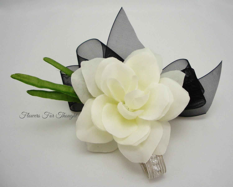 Gardenia Corsagecreamy White With Black Ribbon Silk Flower