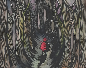 Into the woods Lino Print