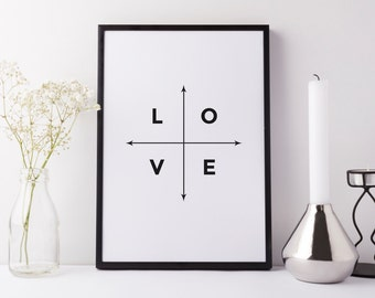 Love/arrows. Black and white typographic print