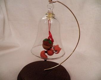 Vintage 1984 Hallmark Bell Ringer Squirrel Glass Ornament - QX4431