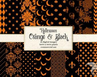 Orange and Black Halloween Digital Paper Patterns, Gothic Victorian, black and orange pumpkins, skulls, Damask Patterns Backgrounds