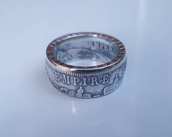 Ring coin 5 francs napoleon in Silver (coin ring)