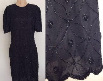 1980's Deadstock Black Beaded Silk Dress w/ Scalloped Edges Vintage Party Dress Size Medium Large by Maeberry Vintage