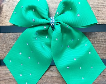 Kelly Green rhinestone bow