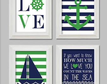 Nautical Art Prints - Anchor - Sailboat - Count the waves in the sea - Kelly Green and Navy -Nautical Nursery -11x14 Printable
