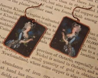 Marie Antoinette earrings Queen of France mixed media jewelry