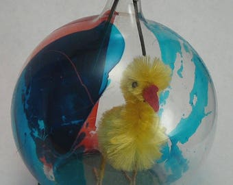 Diorama Christmas Ornament Chenille Chick in Glass Dome Easter