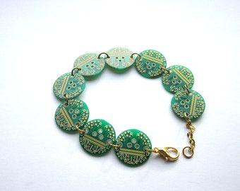 Round Circuit Board Bracelet   Geeky Jewellery