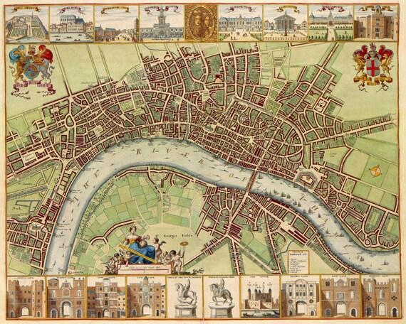 london street map old london city atlas vintage 17th century