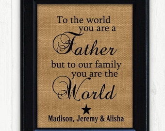 Fathers day from kids, Father Gift, Burlap Print, DAD birthday gift, Unique Father Gift, Dad Gift Idea, Fathers Day Gift, New Dad Gift