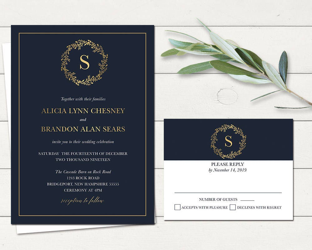 Navy Wedding Invitations: Winter Wedding Invitations Set Navy Blue Gold Christmas