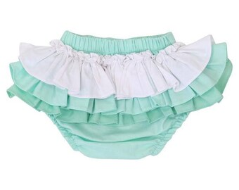 Mint Gradient Ruffled Baby Bloomer | Mint, White, Ruffled, Girly, Baby Girl Diaper Cover