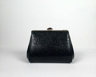 Vintage Black Faux Croc Fat Clutch