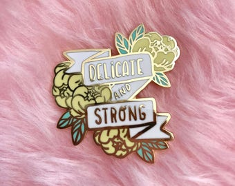 Delicate & Strong hard enamel lapel pin - Yellow and Mint