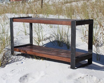 Wood and metal bench, Entertainment center, Reclaimed wood bench, Industrial bench,Console,Entryway bench, Rustic bench, Barn wood,Furniture