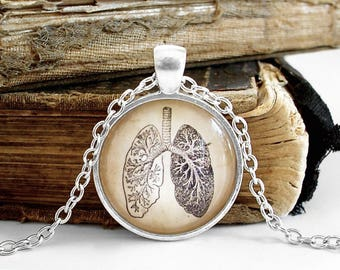 Anatomical Lungs Necklace - Antique Anatomy Print Necklace W/ Chain in Silver