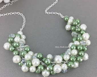 Olive and Ivory Necklace Pearl Jewelry Chunky Necklace Green and Ivory Necklace Jewelry Olivie Green Sage Bridesmaid Gift for Her Jewelry