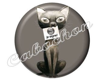 2 cabochons 20mm glass cat