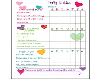 Printable To Do List, Chore Chart Organizer for kids DIGITAL