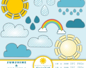 Weather Clipart, Summer Clipart, Sunshine Clipart, Digital Image, Instant Download, Commercial Use, PNG / Jpg