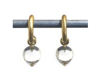 Rock Crystal Acorn Drops for Hoops - Interchangeable Earrings