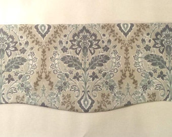 Window Valance - Curved or Straight - Blue Taupe Floral - Scalloped Window - Cotton Lining -  Brussels Amethyst Premier Prints Fabric