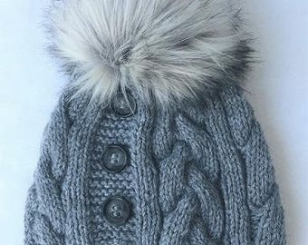 Knitted Hat Cables and Buttons The CrossRoads for Women