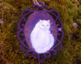 White cat  miniature painting on decorative wood piece