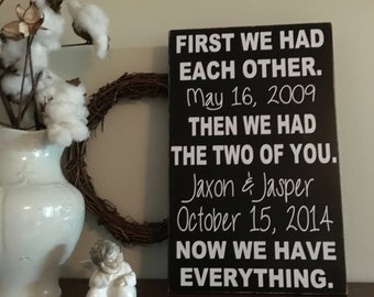 First we had each other sign, Children's Sign, Now we have everything sign,16x32