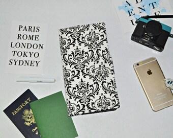 Damask Travel Wallet - Black and White Boarding Pass Organizer - Magnet Tab - Fabric Passport Wallet - Gift for Traveler