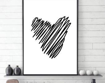 Halloween Gifts Heart Wall Art Print-Digital Download Art-Wall Art Printable-Digital Art-Home Decor Art-Modern Art Print